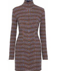 Stella McCartney - Checked Wool Mini Turtleneck Dress - Lyst