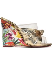 Charlotte Olympia - Bow-embellished Lamé, Pvc And Printed Leather Wedge Mules - Lyst