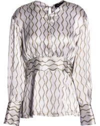 Isabel Marant - Printed Hammered Silk-satin Blouse - Lyst