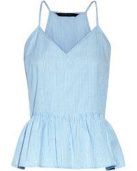 W118 by Walter Baker - Murphy Striped Cotton-broadcloth Peplum Top - Lyst