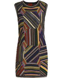 Missoni - Patchwork-effect Metallic Crochet-knit Mini Dress - Lyst