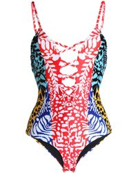 Mara Hoffman - Lace-up Printed Swimsuit - Lyst