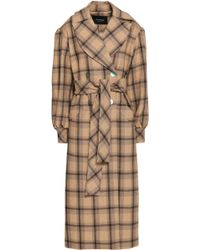Paper London - Woman Clotilde Double-breasted Checked Felt Coat Tan - Lyst