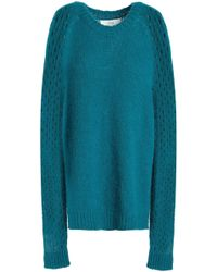 Vanessa Bruno Athé - Woman Paneled Knitted Sweater Teal - Lyst