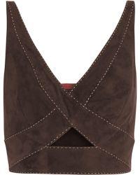 Tamara Mellon - Woman Cropped Cutout Suede Top Dark Brown - Lyst