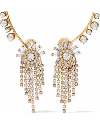 Elizabeth Cole - Gold-tone Faux-pearl And Crystal Earrings - Lyst