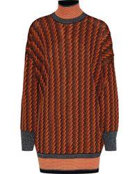 By Malene Birger - Woman Metallic Jacquard-knit Turtleneck Sweater Orange - Lyst