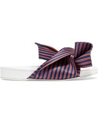 N°21 - Knotted Striped Satin Slide Sandal - Lyst