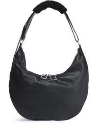 Acne Studios - Shearling-trimmed Leather Shoulder Bag Midnight Blue - Lyst