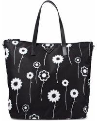 Prada - Textured Leather-trimmed Floral-print Gabardine Tote - Lyst