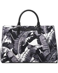 Dolce & Gabbana - Pebbled Leather-trimmed Printed Canvas Tote - Lyst