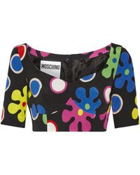 Moschino | Cropped Printed Silk Top | Lyst