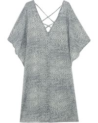 Eberjey - Nirvana Printed Cotton-voile Coverup Dark Grey - Lyst