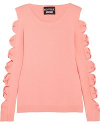 Boutique Moschino - Cutout Bow-detailed Stretch-knit Sweater - Lyst