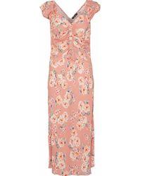 Love Sam - Serena Ruched Floral-print Crepe De Chine Dress - Lyst