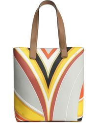 Emilio Pucci - Printed Faux Leather Tote Light Gray - Lyst