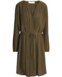 Vanessa Bruno Athé - Pintucked Crepe Shirt Dress - Lyst
