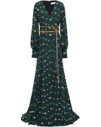 Peter Pilotto - Gathered Tasselled Fil Coupé Crepe Maxi Dress Emerald - Lyst