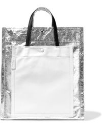 3.1 Phillip Lim - Accordion Smooth And Metallic Cracked-leather Tote - Lyst