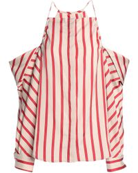 Christopher Esber - Woman Cold-shoulder Striped Woven Top Beige - Lyst