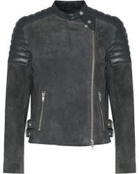 Muubaa - Quilted Leather-paneled Suede Biker Jacket - Lyst