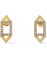 Astrid & Miyu - Woman Fitzgerald Rhodium-plated Crystal Earrings Gold - Lyst