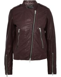 Rag & Bone - Lyon Crinkled-leather Biker Jacket - Lyst