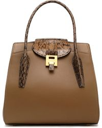 Michael Kors - Bancroft Python-trimmed Leather Tote - Lyst