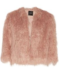 Theory - Elstana Faux Fur Jacket Antique Rose - Lyst