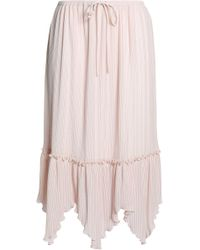 See By Chloé - Asymmetric Pleated Crepe Midi Skirt Pastel Pink - Lyst