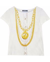 Moschino - Printed Slub Cotton-jersey T-shirt - Lyst