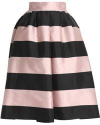 Rochas - Striped Duchesse Satin Midi Skirt Baby Pink - Lyst