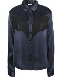 Ganni - Fringed Satin Shirt Storm Blue - Lyst