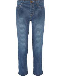 Current/Elliott - Woman The Fling Striped Boyfriend Jeans Mid Denim - Lyst