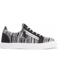Giuseppe Zanotti - London Printed Smooth And Snake-effect Leather Trainers - Lyst