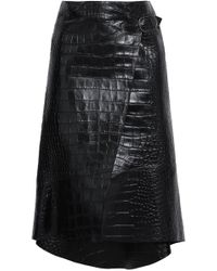 50bcac68d Roberto Cavalli - Asymmetric Croc-effect Leather Wrap Skirt Black - Lyst