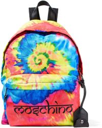 Moschino - Leather-trimmed Printed Tie-dyed Shell Backpack - Lyst