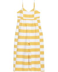 fcf5a313b1 Mara Hoffman - Woman Pleated Striped Cotton-canvas Jumpsuit Yellow - Lyst