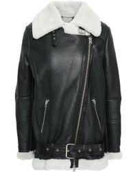 Muubaa - Shearling-trimmed Leather Biker Jacket - Lyst