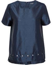 Max Mara - Hiris Button-detailed Pleated Silk-shantung Top Storm Blue - Lyst