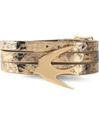 McQ - Gold-tone Metallic Cracked-leather Bracelet - Lyst