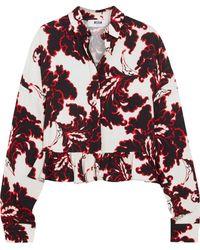 MSGM | Ruffled Printed Crepe Shirt | Lyst