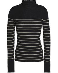 Vince - Striped Ribbed Cashmere Turtleneck Sweater - Lyst