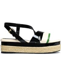 Lanvin - Color-block Smooth And Patent-leather Platform Sandals - Lyst