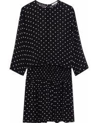 Ganni - Monette Shirred Polka-dot Georgette Mini Dress - Lyst