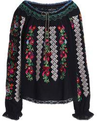 Needle & Thread Woman Embroidered Crepe Tunic Black