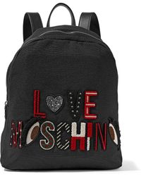 Love Moschino - Leather-trimmed Appliquéd Canvas Backpack Black - Lyst