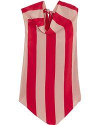Juan Carlos Obando - Striped Silk Crepe De Chine Top - Lyst