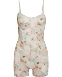 Live The Process - Floral-print Stretch-supplex Playsuit - Lyst