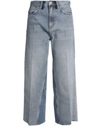 M.i.h Jeans - Caron Embroidered Cropped Mid-rise Wide-leg Jeans Light Denim Size 26 - Lyst